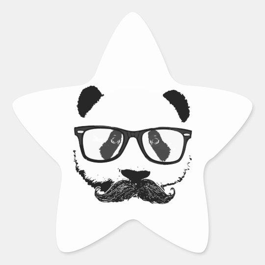Mustache Pandaz In Da Disco Star Sticker