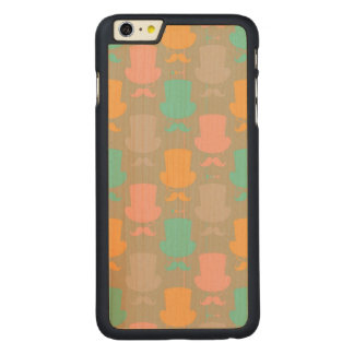 Mustache pattern 2 carved maple iPhone 6 plus slim case