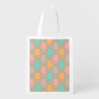 Mustache pattern 2 reusable grocery bag