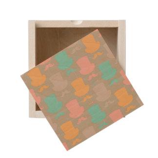 Mustache pattern 2 wooden keepsake box