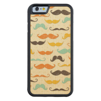 Mustache pattern 3 carved maple iPhone 6 bumper case