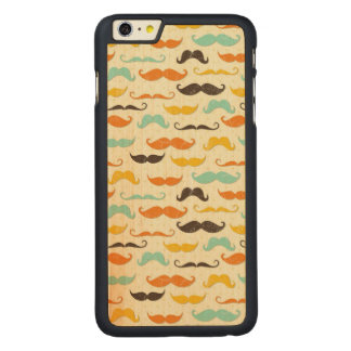 Mustache pattern 3 carved maple iPhone 6 plus slim case