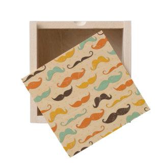 Mustache pattern 3 wooden keepsake box