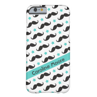 Mustache pattern aqua blue stars personalized barely there iPhone 6 case