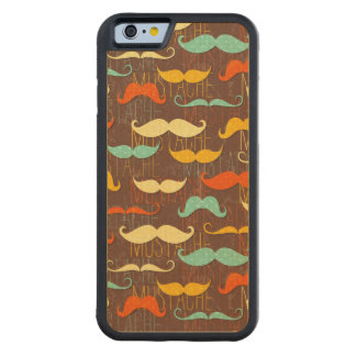 Mustache pattern carved maple iPhone 6 bumper case