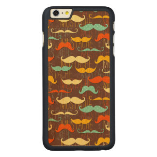 Mustache pattern carved maple iPhone 6 plus slim case