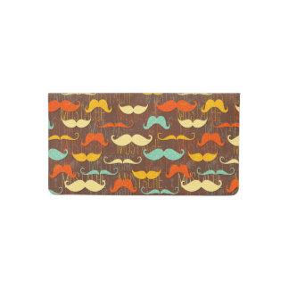 Mustache pattern checkbook cover
