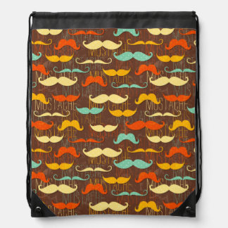 Mustache pattern drawstring bag