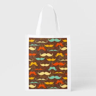 Mustache pattern grocery bag