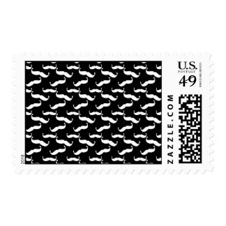Mustache Pattern in Black & White Stamp