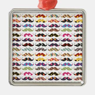 Mustache pattern is cute metal ornament