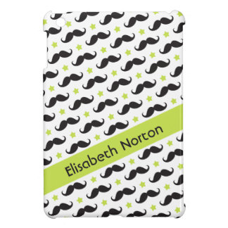 Mustache pattern lime green stars personalized case for the iPad mini