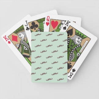 Mustache pattern on mint bicycle playing cards