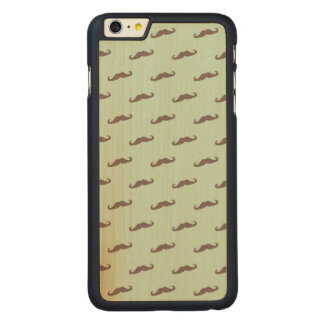 Mustache pattern on mint carved maple iPhone 6 plus case