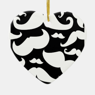 Mustache Pattern Double-Sided Heart Ceramic Christmas Ornament