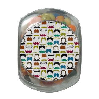 Mustache Pattern Party Supplies Glass Jars