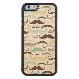 Mustache pattern, retro style 2 carved maple iPhone 6 bumper case