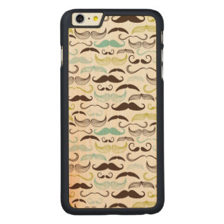 Mustache pattern, retro style 2 carved maple iPhone 6 plus slim case
