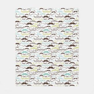 Mustache pattern, retro style 2 fleece blanket