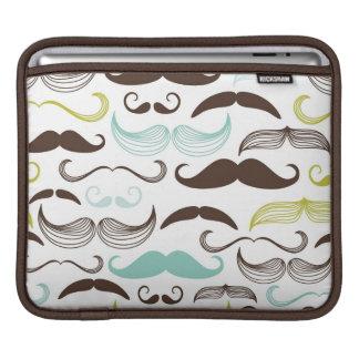 Mustache pattern, retro style 2 iPad sleeve