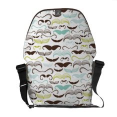 Mustache Pattern, Retro Style 2 Messenger Bag at Zazzle