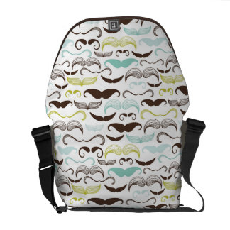Mustache pattern, retro style 2 messenger bag