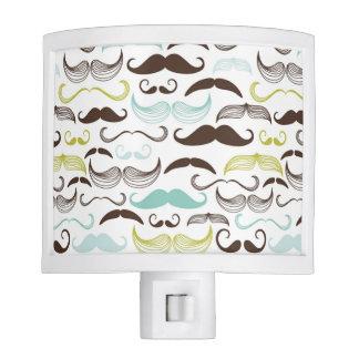 Mustache pattern, retro style 2 night light