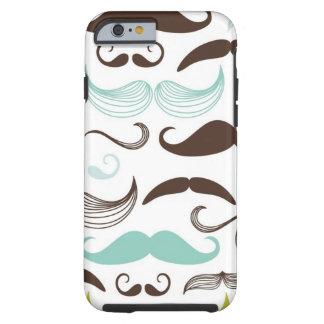 Mustache pattern, retro style 2 tough iPhone 6 case
