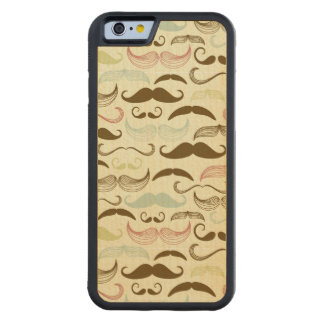 Mustache pattern, retro style 4 carved maple iPhone 6 bumper case
