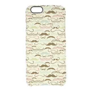 Mustache pattern, retro style 4 clear iPhone 6/6S case