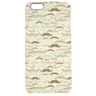 Mustache pattern, retro style 4 clear iPhone 6 plus case