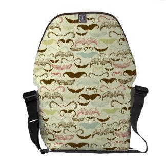 Mustache pattern, retro style 4 courier bag