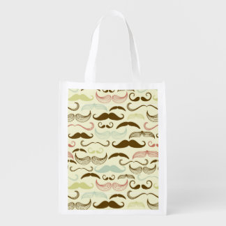 Mustache pattern, retro style 4 grocery bag