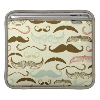 Mustache pattern, retro style 4 iPad sleeve