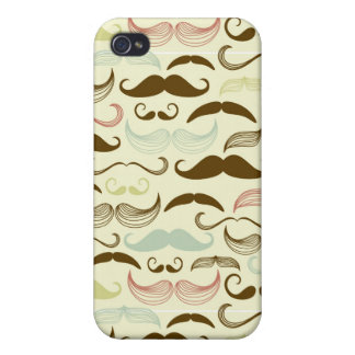 Mustache pattern, retro style 4 iPhone 4/4S cases