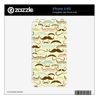 Mustache pattern, retro style 4 iPhone 4 decals