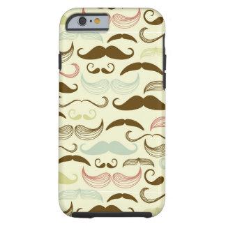 Mustache pattern, retro style 4 tough iPhone 6 case