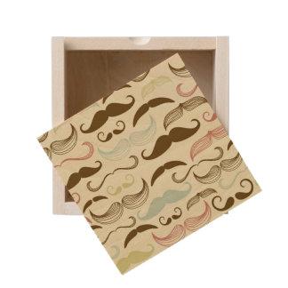 Mustache pattern, retro style 4 wooden keepsake box