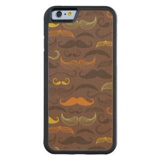 Mustache pattern, retro style 5 carved maple iPhone 6 bumper case
