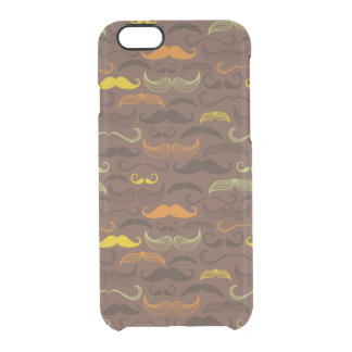 Mustache pattern, retro style 5 clear iPhone 6/6S case