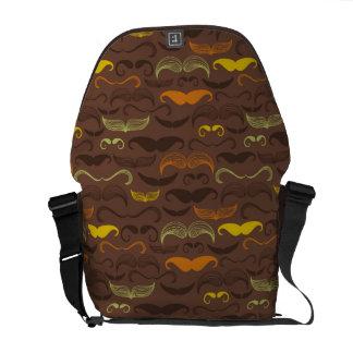 Mustache pattern, retro style 5 messenger bag