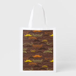 Mustache pattern, retro style 5 reusable grocery bag