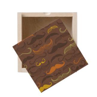 Mustache pattern, retro style 5 wooden keepsake box