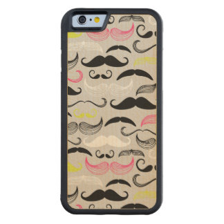Mustache pattern, retro style carved maple iPhone 6 bumper case
