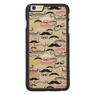 Mustache pattern, retro style carved maple iPhone 6 plus case