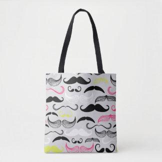 Mustache pattern, retro style tote bag