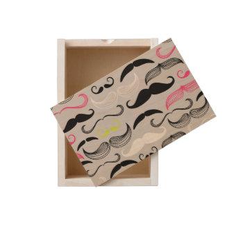 Mustache pattern, retro style wooden keepsake box