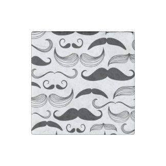 Mustache Pattern Stone Magnet