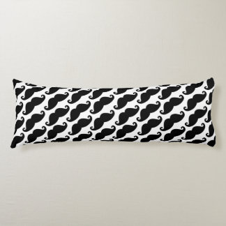 Mustache Pattern White and Black Body Pillow