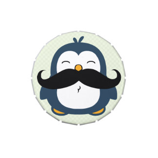 Mustache Penguin Cartoon Jelly Belly Candy Tins